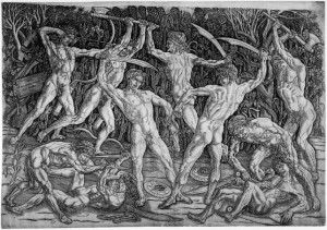 Battle of the Nude Men by Antonio del Pollaiuolo, 1465–1475. Engraving 42.4 x 60.9 cm